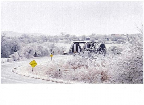 Cedar Vale,KS. East on old hwy Double Arched Rainbow Bridge.Ice Storm 2002