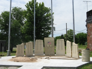 Veteran's War Memorial Monument. Thanks to all who are working hard at installing this monument to our veterans and lay
